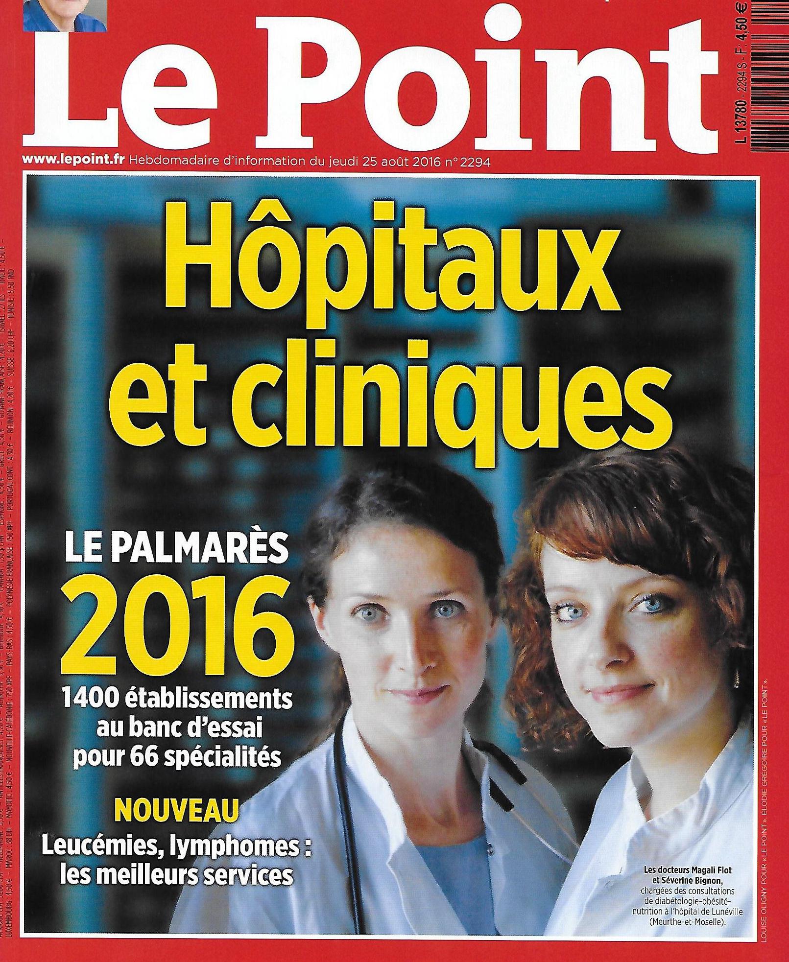 Couverture le point, classement hôpitaux et cliniques 2016